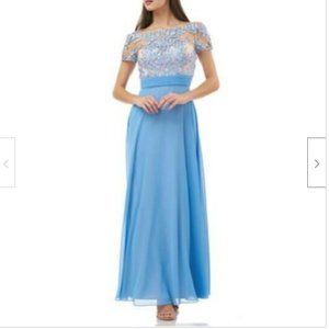 New JS Collection Sky Nude Blue Gown Dress
